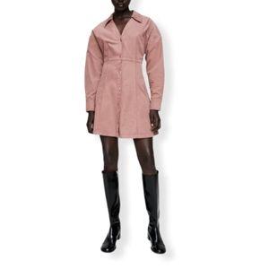 Zara velvet front button dress